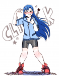 artist_request blue_hair blush brown_eyes english finger_frame hoodie idolmaster kisaragi_chihaya shorts smile sneakers  rating:Safe score:0 user:anooon