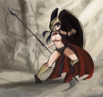 breasts cyclops helmet hitomi large_breasts shield spartan spear tagme topless  rating:Safe score:0 user:anooon