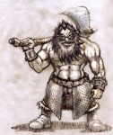 axe bare_chest beard character dwarf fantasy male monochrome scale_armor  rating:Safe score:0 user:yetanotherwriteanon