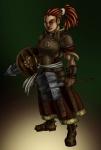 armor breastplate character dreadlocks dwarf fantasy female hammer plate_armor red_hair shield  rating:Safe score:0 user:yetanotherwriteanon