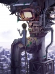 aerial_view animal_companion artist_request braid brown_hair cat character city industrial landscape long_hair loundspeaker modern_fantasy phone scenery science_fiction screen tower very_long_hair  rating:Safe score:0 user:BLloyd607502