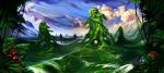 clouds fantasy flowers forest green hedge maze scenery skeletons  rating:Safe score:0 user:Grail