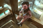 barn beard black_hair brown_hair brownie carving character fae fantasy hairy hooves knife male pointy_ears spoon wood  rating:Safe score:0 user:Grail