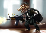 bag character firing gun hair kobold mobster modern_fantasy suit tail tie  rating:Safe score:0 user:Grail