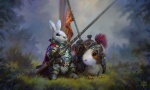 animal animal_companion anthro armor artist_request banner character crested_helmet fantasy grass guinea_pig knight lance mount nature rabbit saddle  rating:Safe score:0 user:hilohello