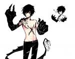black_hair black_skin character haru-tchi_(artist) light_skin male modern modern_fantasy monster mutation pants shirtless superhero superpowers tail tattoo yellow_eyes  rating:Safe score:0 user:BarrelGuy