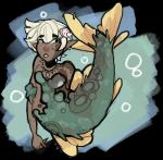 brown_skin character female merfolk mermaid necklace scales short_hair siren tagme transparent_background twillywho_(artist) underwater white_hair  rating:Safe score:0 user:BarrelGuy