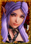 black_clothing brown_eyes chain_leash elbow_gloves elf female honey_select non-human nude pointed_ears purple_hair stockings  rating:Questionable score:3 user:illusioncards
