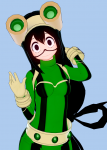 bnha boku_no_hero_academia female froppy green_hair koikatsu long_hair my_hero_academia school_uniform tsuyu_asui  rating:Safe score:15 user:Rhinestones