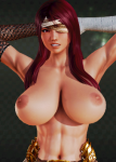 abs amazon bandage gladiator large_breasts long_hair muscular red_eyes red_hair  rating:Questionable score:10 user:sei