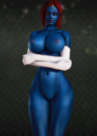 blue_skin female honey_select large_breasts marvel mutant mystique red_hair x-man yellow_eyes  rating:Questionable score:12 user:Asped