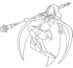 age:_adult cape fantasy female hood lineart long_hair mage mask staff weapon  rating:Safe score:0 user:pobooru