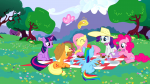 3/4 3/4_back applejack back basket butterfly cake cup earth_pony flower fluttershy front hat holding laying magic mare pegasus picnic pinkie_pie profile rainbow_dash rarity s02e25 sandwich sitting tea teacup teapot tree twilight_sparkle unicorn wings_up  rating:Safe score:0 user:ponyresource