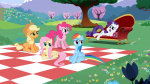 1080p 3/4 applejack earth_pony fluttershy front irritated laying mare pegasus picnic pinkie_pie rainbow_dash rarity s02e03 sitting surprised tired unicorn  rating:Safe score:0 user:Powerpuncher