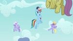 3/4 baseball_cap bow cloud_kicker cloudchaser flitter flying hat hugging mare parasol pegasus rainbow_dash s02e22 whistle wings_flapping  rating:Questionable score:0 user:ponyresource