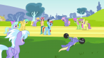 3/4 3/4_back bluebell cloud_kicker cloudchaser dizzy_twister flitter front hat leg_bent merry_may parasol pegasus raindrops s02e22 track tree weight whistle wings_folded wings_up  rating:Questionable score:0 user:ponyresource