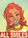 all_smiles artist:combos_n_doodles breath_of_the_wild colored dark_skin gerudo grin lipstick long_hair parody reaction_image red_hair riju smile the_legend_of_zelda  rating:Safe score:0 user:rijuanon