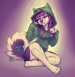 anthro black_fur black_hair bottomless breasts bridge_piercing canine clothed clothing colored_nails corset_piercing creeper creeper_hoodie crossed_legs crosslegged cute dog facial_piercing female fur furgonomics furry furry-specific_piercing hair hoodie lacing long_hair looking_at_viewer mammal minecraft multicolor_fur multicolored_fur multicolored_hair muzzle_piercing nose_piercing painted_nails panties piercing pink_hair simple_background sitting smiling solo spotlight stop_piercing surface_piercing thick_thighs two_tone_fur two_tone_hair underwear video_games vivian_james white_fur  rating:Questionable score:-3 user:pooka