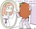 belt clover comic daughterfu green_eyes headband karate_gi mirror red_hair tagme text vivian_james  rating:Safe score:1 user:Furudo