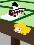 alternate_accessories artist:mijinco3 drooling indoors marisa reimu sleeping  rating:Safe score:0 user:jogiff