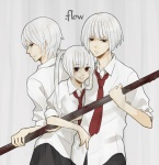 .flow albino female kaibutsu male pigtails pipe school_uniform smile white_hair  rating:Safe score:0 user:KleinesSkollexxx