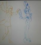 animal_ears character:charlotte character:gazapodemuerte copyright:charlotte copyright:gazapodemuerte fangs hoodie overcoat rabbit simple_background sketch skirt sweatdrop vampire very_long_hair wings  rating:Safe score:0 user:GazapoDeMuerte