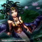 arm_band arm_brace artist:powree2k7 belly_jewelry black_hair bracelet breasts character:medusa character:ryvah chest_plate claws cobra copyright:meldor_labs hair_band hair_ornament jewelry lilly_pad living_hair long_sword monster_girl mythology naga pointed_ears ruins saber simple_background snake tan_skin water weapon wet yellow_eyes  rating:Safe score:0 user:Lil_Slump