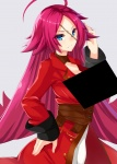 1girl ahoge areola_slip artist:tohochang belt black_box_censoring blue_eyes bouncing_breasts censored_breasts center_opening character:francis_drake_(fate) coat editor:tbw facial_scar hand_on_hip highres long_hair long_sleeves looking_at_viewer pink_hair red_coat scar series:fate series:fate/extra smile solo very_long_hair  rating:Questionable score:1 user:censored