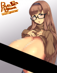 1girl artist:agawa_ryou black_box_censoring brown_eyes brown_hair censored_breasts clothes_lift editor:blackouter gigantic_breasts glasses gradient gradient_background grey_background hairband layered_censoring long_hair mosaic_censoring navel ribbed_sweater sagging_breasts semi-rimless_eyewear solo sweater sweater_lift turtleneck under-rim_eyewear  rating:Questionable score:1 user:BlackOuter