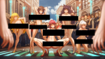 5girls absurdres artist:kuon_(kwonchanji) black_box_censoring blonde_hair brown_hair censored_breasts censored_pussy character:blake_belladonna character:pyrrha_nikos character:ruby_rose character:weiss_schnee character:yang_xiao_long crowd day editor:a_typical_furry exhibitionism grabbing_own_breast highres large_breasts long_hair looking_at_viewer medium_breasts multiple_girls navel nipples nude pink_hair ponytail public_nudity series:rwby short_hair signature silver_hair smile squatting thighs very_long_hair  rating:Questionable score:1 user:A_Typical_Furry