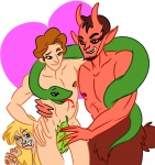 1girl 2boys adam demon devil eve horns leaf mythology nipples nude pointy_ears red_skin religion satan snake  rating:Safe score:0 user:Buttz