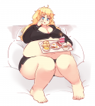 1girl cake food pajamas rtil satou_lilly tea weight_gain  rating:Questionable score:0 user:cripple