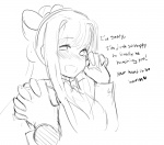 handholding looking_at_viewer monika monochrome solo  rating:Safe score:0 user:Amblypygid