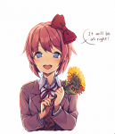 blush bow dialogue english_dialogue english_text female flower fully_clothed hairbow looking_at_viewer satchel sayori short_hair smile solo text uniform  rating:Safe score:0 user:Insivel