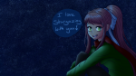 looking_at_viewer monika night outside solo stargazing  rating:Safe score:0 user:Amblypygid