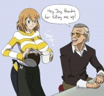 1boy 1girl adult apron breasts brown_hair coffee cup english facial_hair genderswap graph_(artist) green_eyes grey_hair heroman jewelry joey_jones large_breasts mustache old_man pouring ring stan_lee striped striped_sweater sunglasses sweater watch  rating:Safe score:1 user:drawfriends