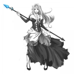 1girl absurdres alternate_costume anonymous_drawfag_(artist) bare_shoulders bustier detached_sleeves gown gwendolyn hair_down hair_ornament highres long_dress long_hair monochrome odin_sphere polearm solo spear spot_color weapon  rating:Safe score:1 user:drawfriends
