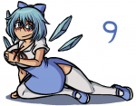 1girl adult blue_eyes blue_hair cirno cleavage dress ice_wings large_breasts mary_janes on_side solo thighhighs touhou vp_drawfag_(artist) white_legwear wings  rating:Safe score:0 user:miko