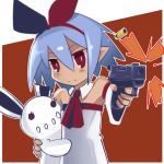 blue_hair bow disgaea gun pleinair red_eyes short_hair taosym_(artist) usagi-san  rating:Safe score:1 user:drawfriends