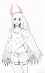 belt black_gold_saw black_rock_shooter horns red_eyes shorts traditional_media  rating:Questionable score:0 user:miko
