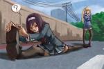2girls colored kasumigaoka_utaha miniskirt outdoors perspective saenai_heroine_no_sodatekata sawamura_eriri_spencer school_uniform thighhighs twintails weiyang_(artist)  rating:Safe score:0 user:overlooked