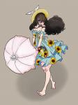 1girl barefoot comic_girls fuura_suzu hat parasol solo sundress umbrella  rating:Safe score:0 user:anooon