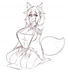 1girl adult fox_ears fox_tail large_breasts on_knees senko sewayaki_kitsune_no_senko-san sitting sketch solo  rating:Questionable score:1 user:Brawlence