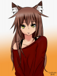 1girl 2015 animal_ears brown_hair clothed clothing female gradient_background long_hair luckexe simple_background smirk solo watermark yellow_eyes yulya  rating:Safe score:1 user:Luckexe
