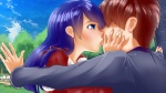 1boy 1girl 2016 bench blue_eyes blue_hair blush brown_hair clothed clothing cloud dress female grass group hands_on_another's_face kiss long_hair male multiple_girls outstretched_arms samantha scene scenery semyon short_hair sky tree  rating:Safe score:0 user:FeiM-Zii-GRON