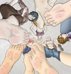 5_toes barefoot big_feet black_hair blonde_hair breasts brown_hair cute dominant dominating feet female fetish foot giantess glasses goddess large_feet multiple_girls pov sandals shoe_removal smell soles stomp stomping toes trample  rating:Questionable score:8 user:Animefootify