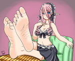arch barefoot blue_eyes crossed feet feet_on_table foot_fetish headband heels legs_crossed looking_at_viewer pink_hair pov smiling soleful-jane_(artist) soles spritefeetfetish_(artist) toes wrinkles  rating:Questionable score:12 user:SpriteFeetFetish