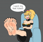 1girl attractive barefoot black_nails blush bowsette dialog feet soles toes  rating:Questionable score:-1 user:OkutoFootLover