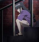 1girl ace_attorney barefoot black_hair dress green_eyes maya_fey shoe sitting stairs toes yukata  rating:Safe score:1 user:Koter
