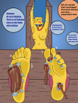 barefoot blue_hair bondage dialog feet jackalde_(artist) laughing marge_simpson milf nude scrubbing soles stocks text the_simpsons tickling toes  rating:Questionable score:-2 user:feet-sniffer